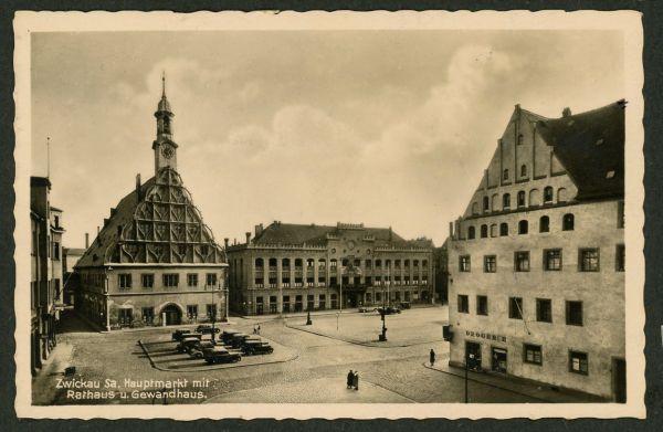 Zwickau Hauptmarkt mit Rathaus u. Gewandhaus